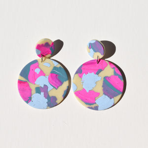 Full Moon Earrings; Saturated Cotton Candy