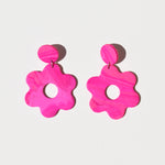 Daisy Earrings; Hot Pink Splatter Swirl
