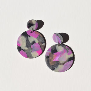Full Moon Earrings; Magenta on Slate