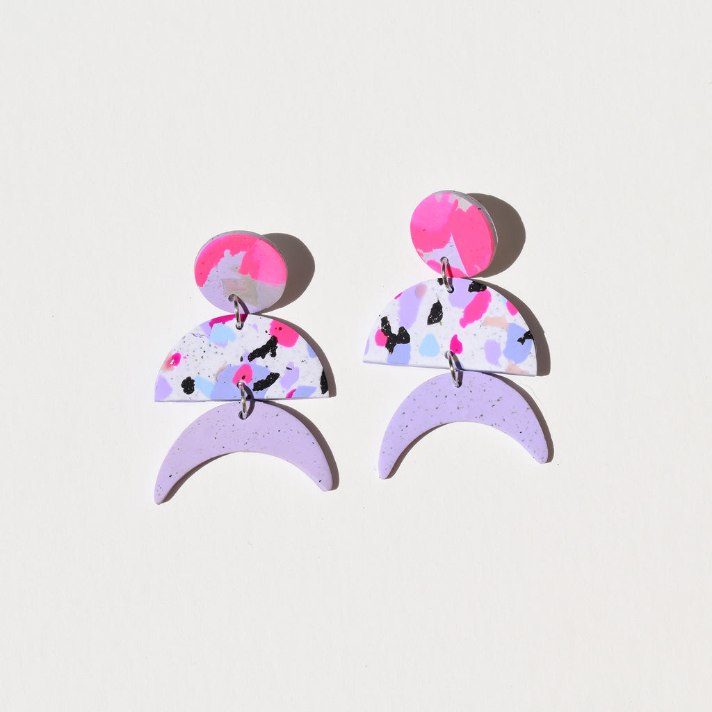 Maggie Earrings; Purple Flirty Confetti