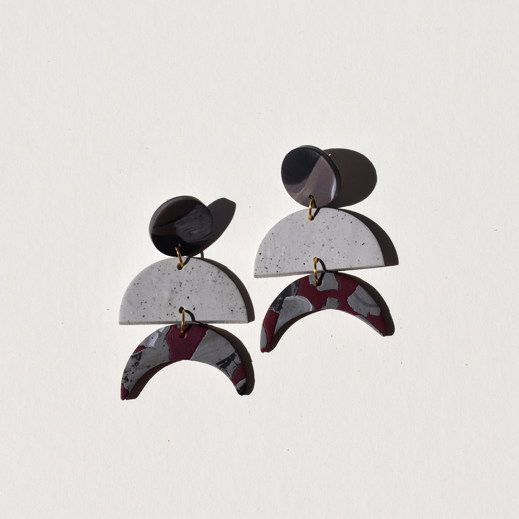 Maggie Earrings; Pop Out in Mostly Grey