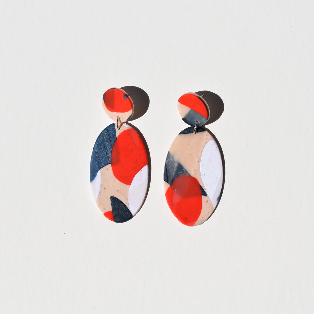 Classy Oval Earrings; Abstract Art Baby