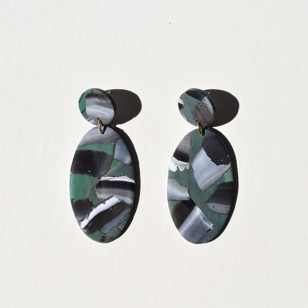 Classy Oval Earrings; Stoned Emerald