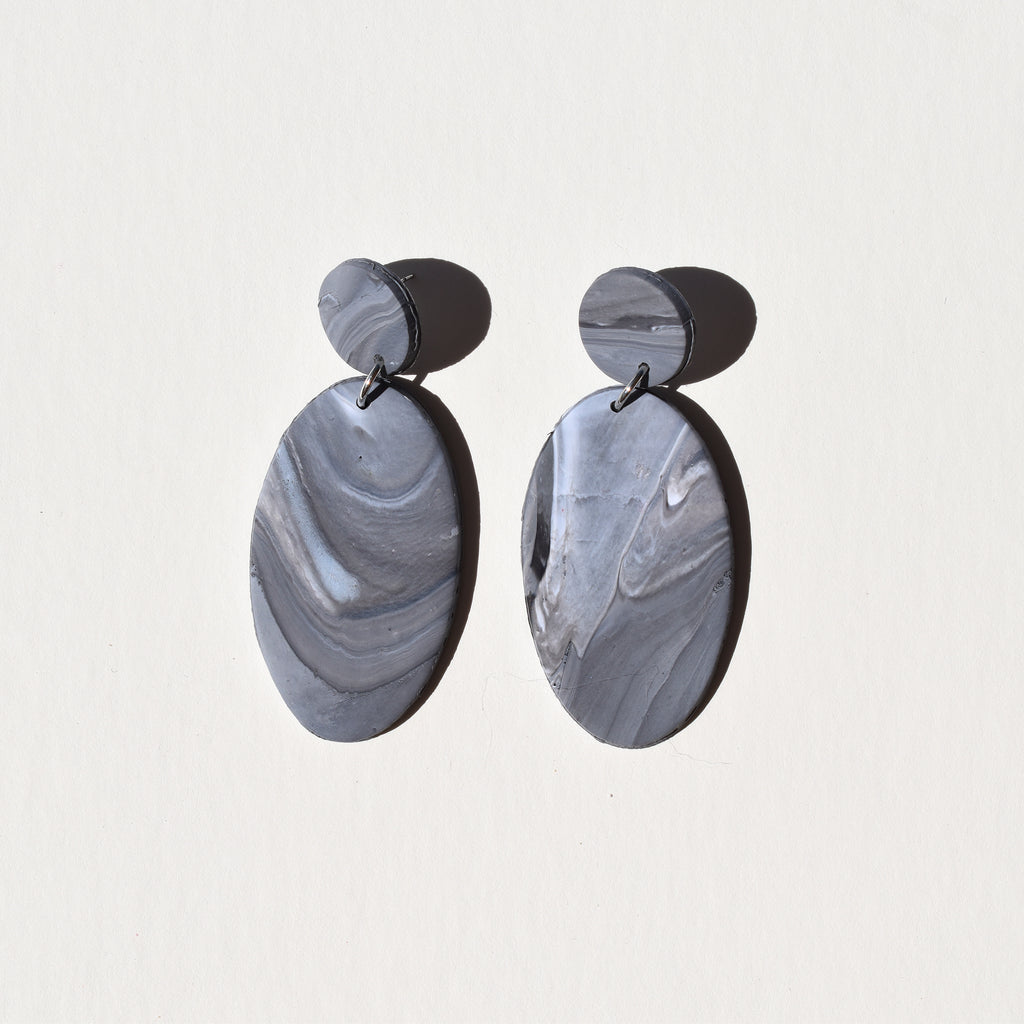 Classy Oval Earrings; Slay in Slate
