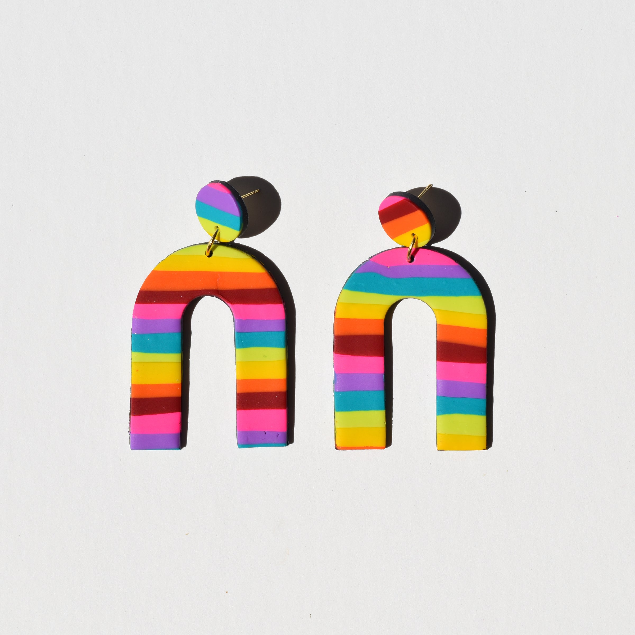 Rainbow Earrings Striped Rainbow