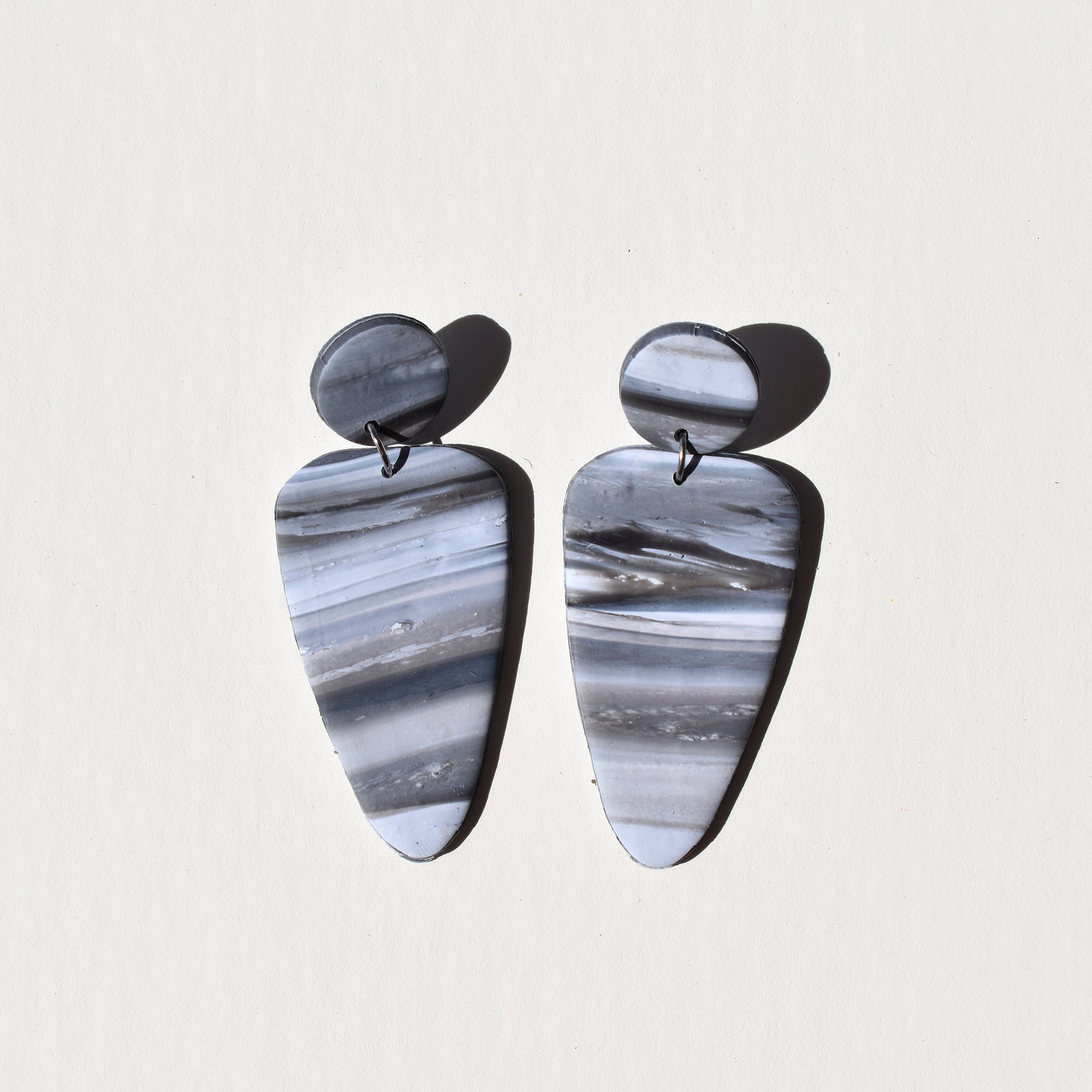 Molly Earrings; Striped Marbled