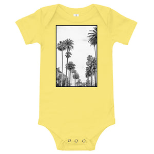 Los Angeles Palm tree baby onesie in yellow