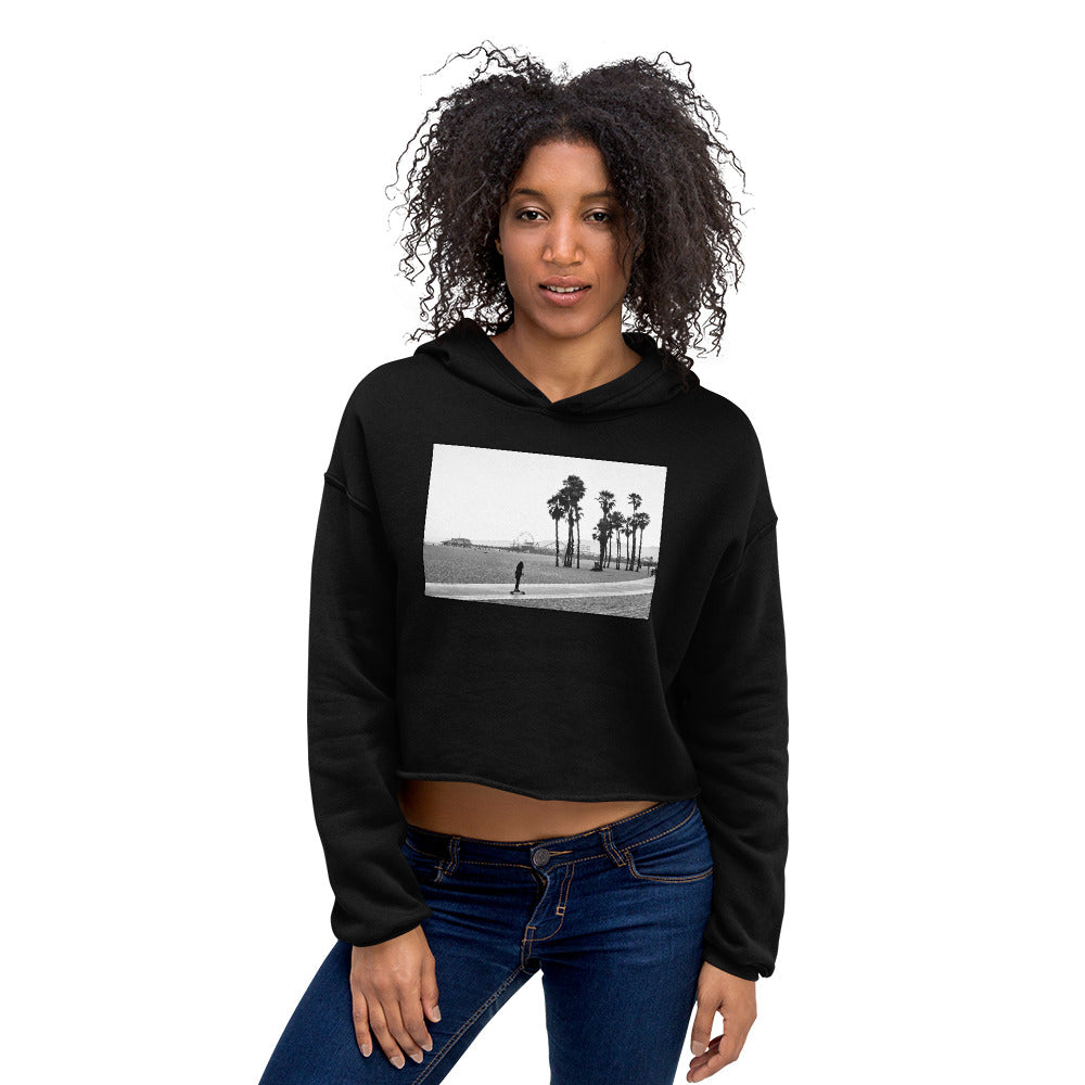 Santa Monica Skater Women's Crop Fleece Hoodie