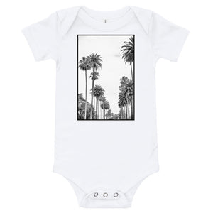Los Angeles Palm tree baby onesie in white