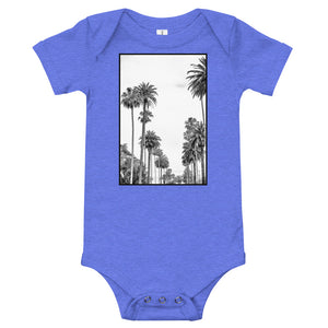 Los Angeles Palm tree baby onesie in blue