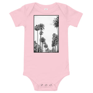 Los Angeles Palm tree baby onesie in pink