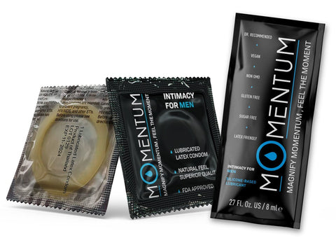 Momentum Silicone-Based Lubricant Sample Pouch + Momentum Sample Condom - Momentum Intimacy