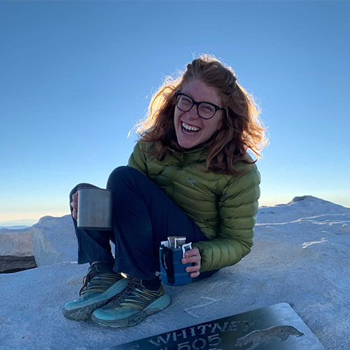Drinking coffee on a mountain