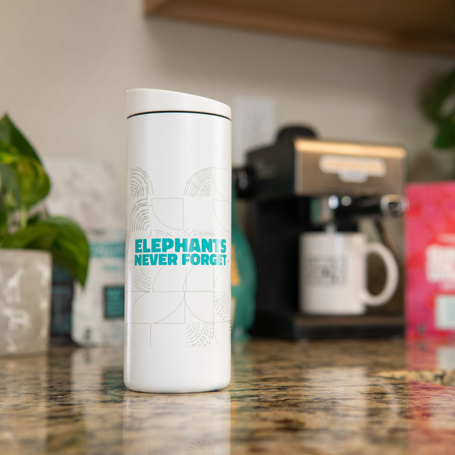Elephants Never Forget Travel Tumbler