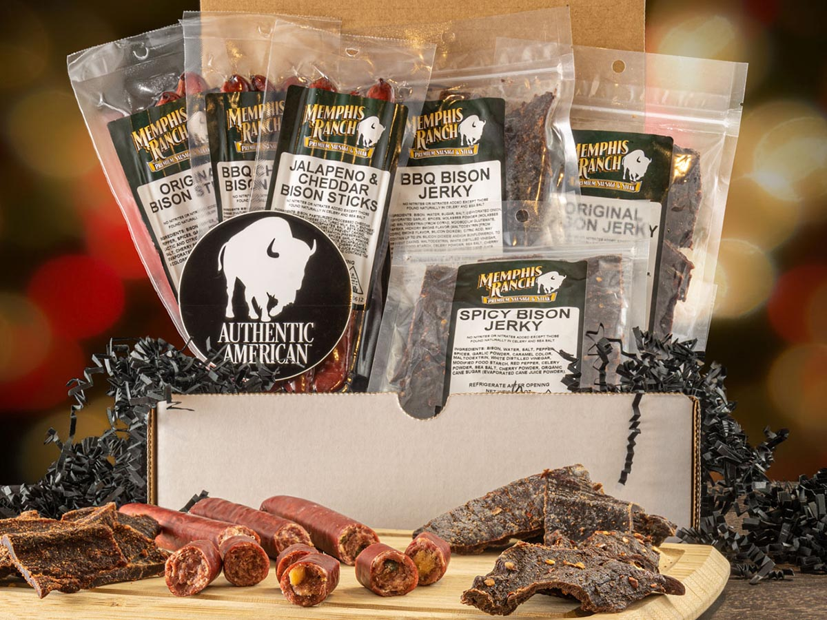 Bison Snack Gift Box of bison snack sticks and jerky