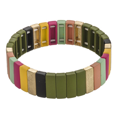 Highlands Color Block  Bracelet Green