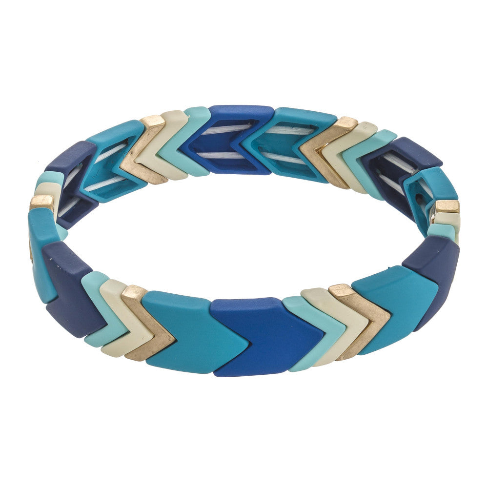 Highlands Color Block Chevron Bracelet Blues