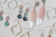 Load image into Gallery viewer, Druzy Feather Earrings