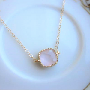 Dainty Pink Opal Necklace