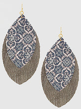 Load image into Gallery viewer, Two Tone Leather Earrings