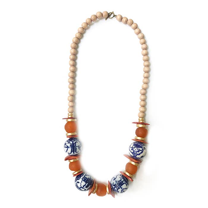 Orange & Blue Chinoiserie Necklace