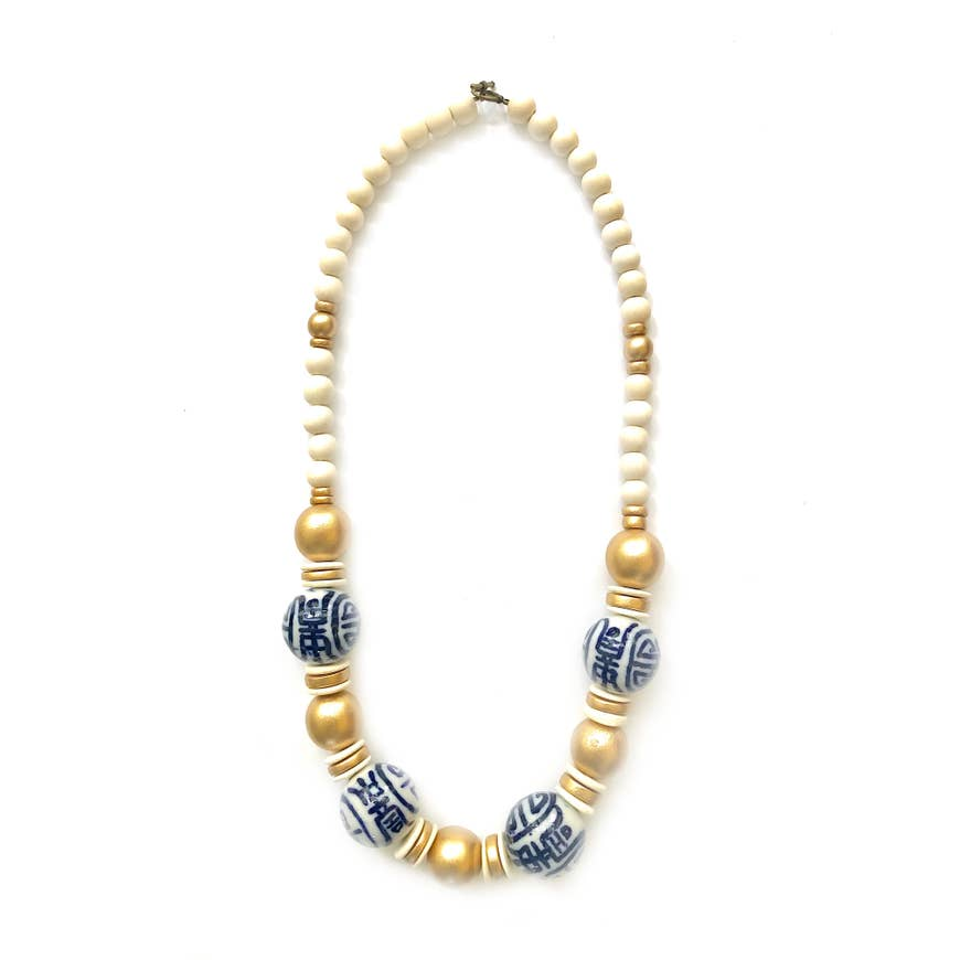 Ivory and Gold Chinoiserie Necklace