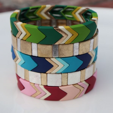 Load image into Gallery viewer, Highlands Color Block Chevron Bracelet Blues