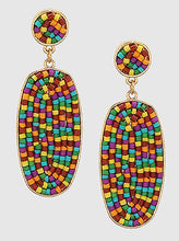 Load image into Gallery viewer, Oval Colorful Beaded Drop Earrings