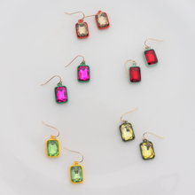 Load image into Gallery viewer, Green Rhinestone Drop Earring