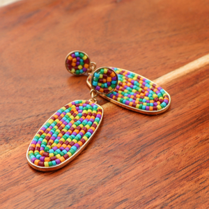 Oval Colorful Beaded Drop Earrings