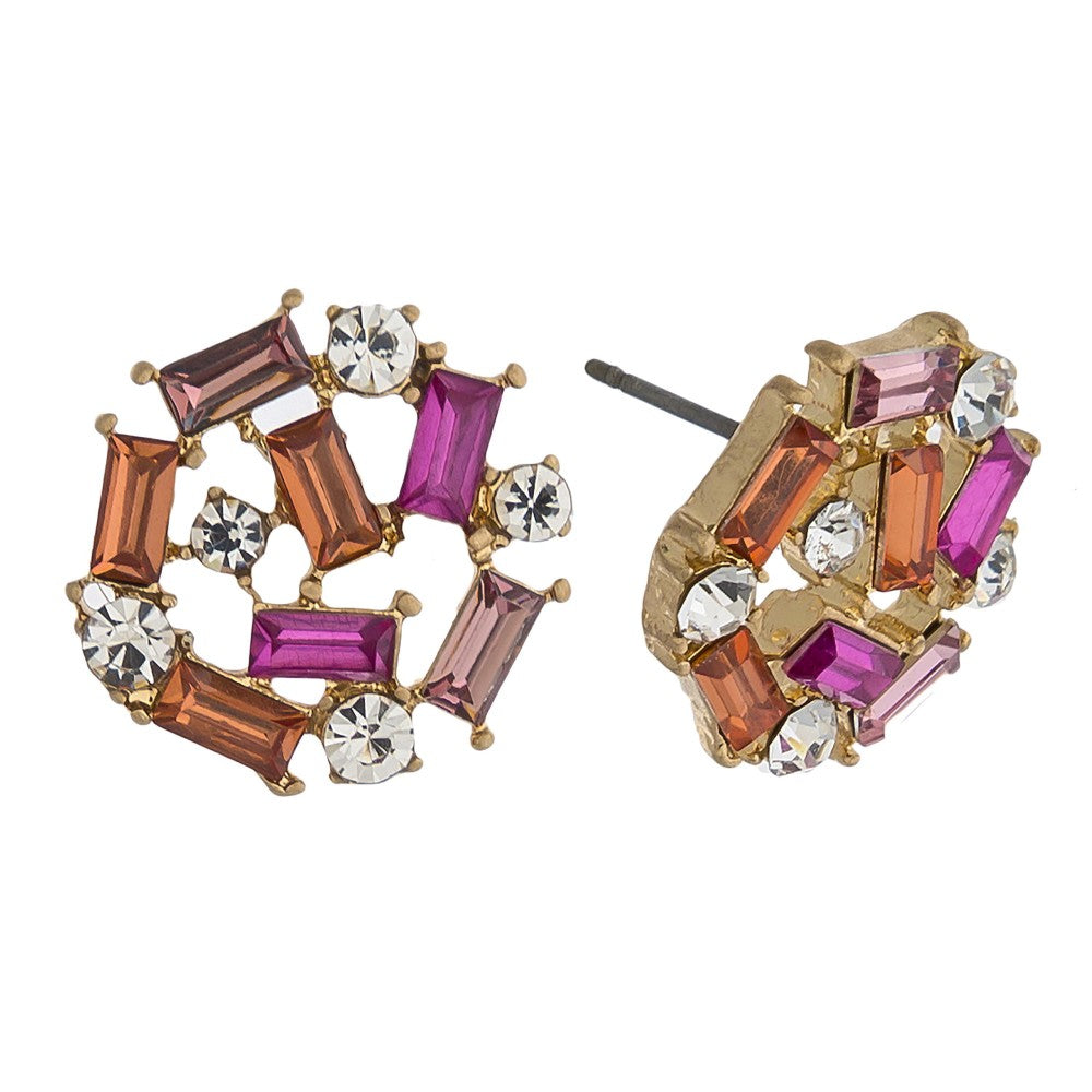 Fuschia Rhinestone Stud Earrings
