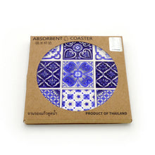 Load image into Gallery viewer, Absorbent Coaster-Blue&White 02