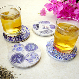 Absorbent Coaster-Blue&White 04