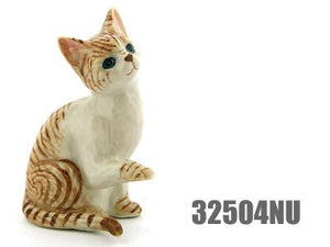 Collectible Ceramic Orange Tabby Cat Figurine Dollhouse Miniatures Gift for Cat Lovers