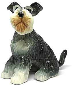 Collectible Ceramic Schnauzer Dog Figurine Animals Sitting Hand Painted Porcelain Friendship Memorial Gift