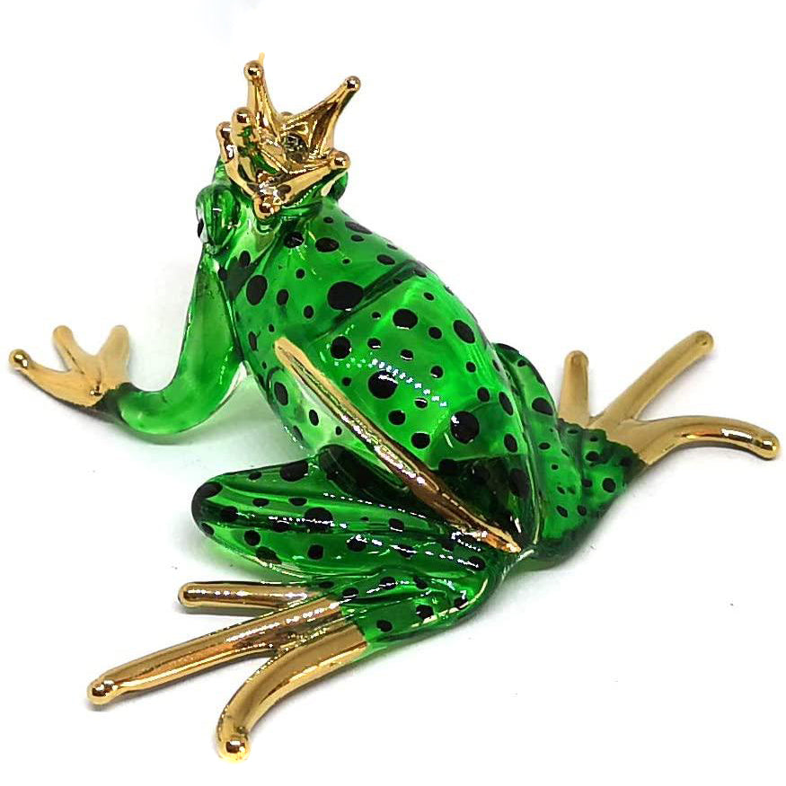 Prince Frog Glass Figurines Collectibles Hand Blown Painted Art Animals Miniature Garden Decor Statue Animal