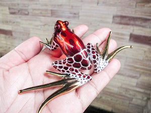 Blown Glass Frog Figurine Brown Dart Hand Painted Animals Collection Miniature Home Garden Decor
