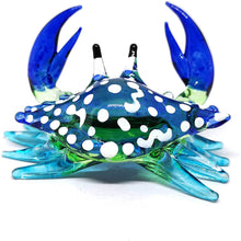 Load image into Gallery viewer, Glass Animals Crab Figurine Blue Hand Blown Painted Art Miniature Coastal Decor Style Spirit Animals