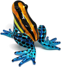 Load image into Gallery viewer, Glass Frog Figurine Poison Dart Animals Hand Blown Painted Art Miniature Gardening Gift Table Decor Statue Orange&Blue