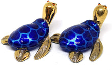 Load image into Gallery viewer, Collectible Hand Blown Glass Figurine Turtle Coastal Beach Home Decor Marine Life Blue and Gold Trim Set of 2