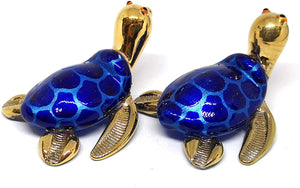 Collectible Hand Blown Glass Figurine Turtle Coastal Beach Home Decor Marine Life Blue and Gold Trim Set of 2