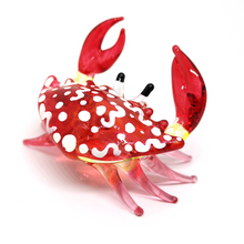 Load image into Gallery viewer, Glass Animals Crab Figurine Red Hand Blown Painted Art Miniature Coastal Decor Style Spirit Animals