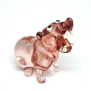 Blown Glass Brown Hippo