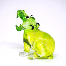 Load image into Gallery viewer, Blown Glass Green Hippo