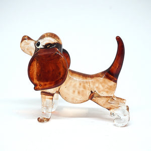 Hand Blown Glass Brown Dog