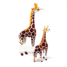 Load image into Gallery viewer, Blown Glass Brown Giraffe Figurine  Set of 2