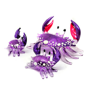 Glass Crab Figurine Purple Miniature Hand Blown  Set of 3