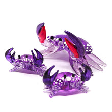 Load image into Gallery viewer, Glass Crab Figurine Purple Miniature Hand Blown  Set of 3