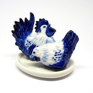 Porcelain Chicken Hen Salt and Pepper Shaker Collectible Set Ceramic Blue White