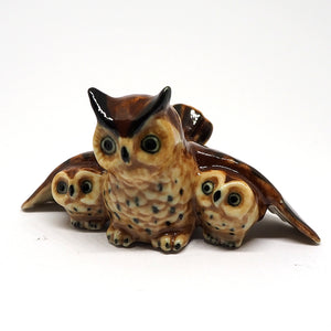 Owl Family Animal Bird Ceramic Figurine Miniature Collectible Brown Statue